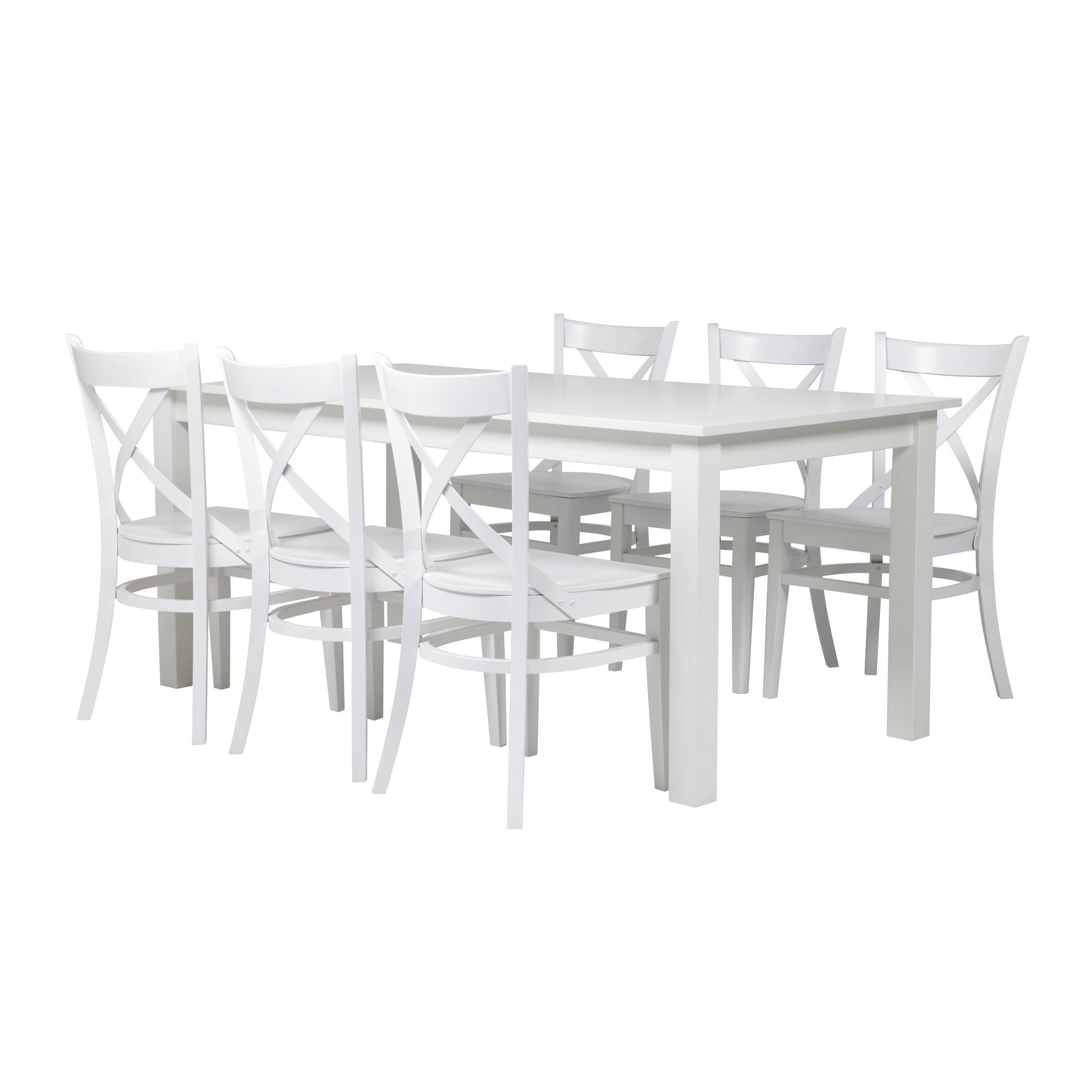 valkoinen lankku ruokapöytä